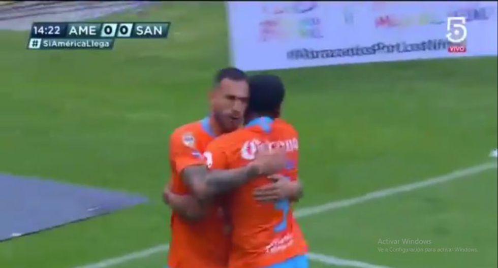 Emanuel Aguilera se encargó de colocar el 1-0 en el América vs. Santos por una nueva jornada del Clausura de la Liga MX (Foto: captura de pantalla)