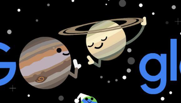 Con un doodle, Google celebra el gran conjunción de Júpiter y Saturno. (Foto: Google)