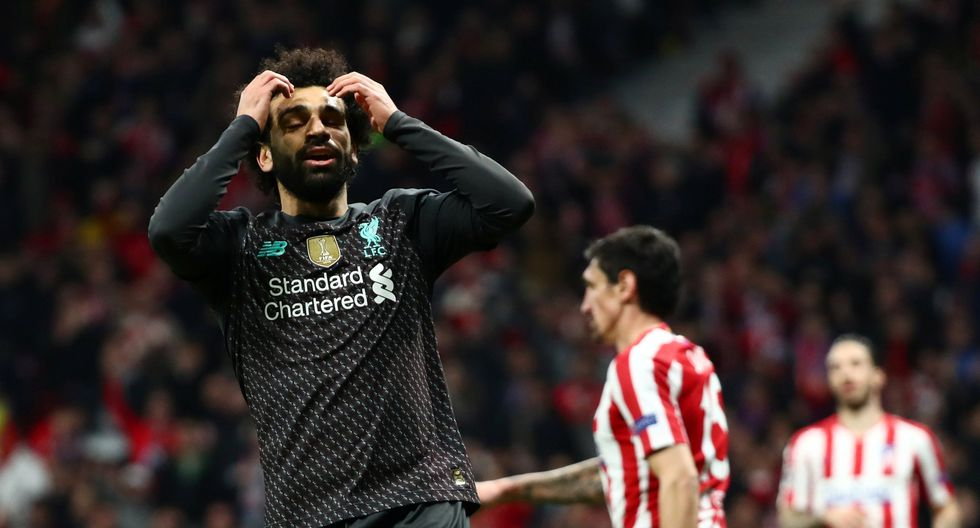 Soccer Football - Champions League - Round of 16 First Leg - Atletico Madrid v Liverpool - Wanda Metropolitano, Madrid, Spain - February 18, 2020  Liverpool's Mohamed Salah reacts after scoring a disallowed goal  REUTERS/Sergio Perez