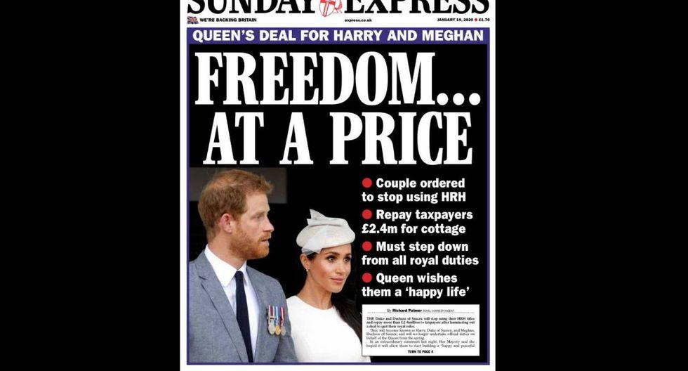 """""""SundayExpress"""" llama a la salida de Meghan Markel y el príncipe Harry como """"Libertad a un precio""""."""