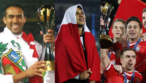 Martín Hidalgo, Paolo Guerrero y Claudio Pizarro ganaron el Mundial de Clubes. (Fotos: Agencias)