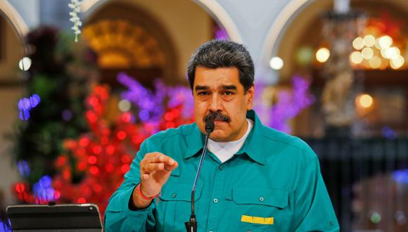 El presidente de Venezuela, Nicolás Maduro, habla en el Palacio Presidencial de Miraflores en Caracas, el 15 de noviembre de 2020. (AFP).