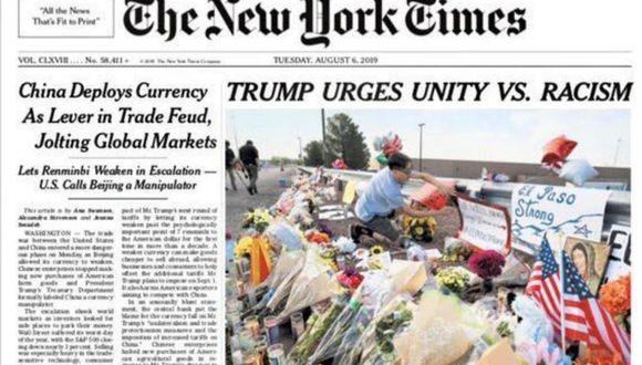 """La portada del """"The New York Times"""" con el título """"Trump insta a la unidad contra el racismo"""" generó críticas."""