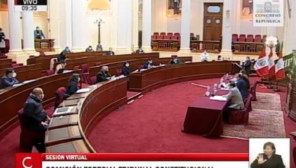 La comisión sesionó de manera presencial. El congresista Gino Costa solicitó que las siguientes reuniones sean virtuales. (Captura del TV)