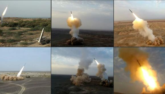 Esta combinación de capturas de imágenes de imágenes muestran misiles balísticos lanzados por el Cuerpo de la Guardia Revolucionaria de Irán (IRGC) durante el último día de ejercicios militares cerca de las sensibles aguas del Golfo. (AFP).