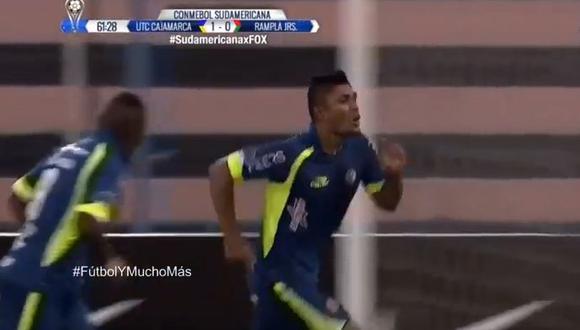 Luis Cardoza marcó para UTC ante Rampla Juniors por la Copa Sudamericana. (Foto: captura de YouTube)