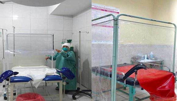 Micas transparentes impermeables fueron colocadas para impedir el contacto con los fluidos que se expulsan durante el nacimiento de los bebés. (Foto: Dirección Regional de Salud de Áncash)