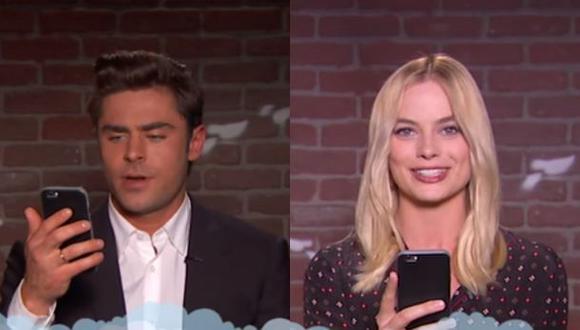 Margot Robbie y Zac Efron se ríen de crueles tuits que reciben