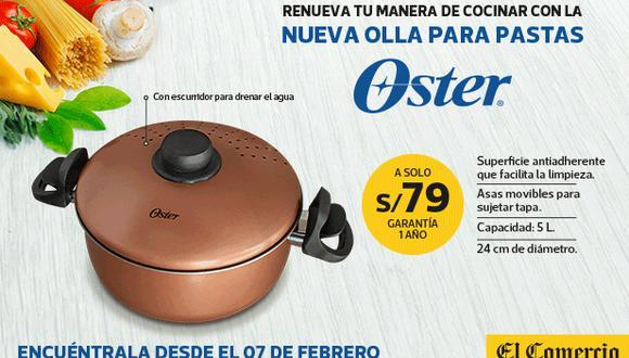Renueva tu manera de cocinar con la Olla para pasta Oster, ideal para preparar ricos platillos y sorprender a tus seres queridos o amigos, además cuenta con el respaldo de la marca Oster.