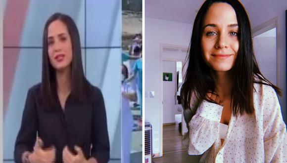 La presentadora Sigrid Bazán intentó mantener sus emociones pese al emotivo informa de mamás enfermeras y doctoras que están trabajando en su día. (Captura de pantalla / @sigrid_bazan).