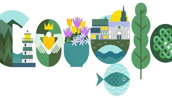 Con este artístico doodle se rinde homenaje al Día de San Patricio. (Foto: Google)