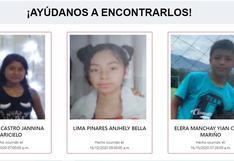 #AyúdanosAEncontrarlos: las familias de Jannina, Anhjely y Yian Carlo los están buscando