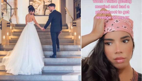 Sarah Vilard sorprendió en Internet. Ella fingió casarse para vengarse de su ex. (Foto: @sarahvilard / TikTok)