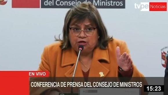 La ministra de Salud, Zulema Tomás, dio detalles de la medida planteada por el Ejecutivo. (TV Perú)