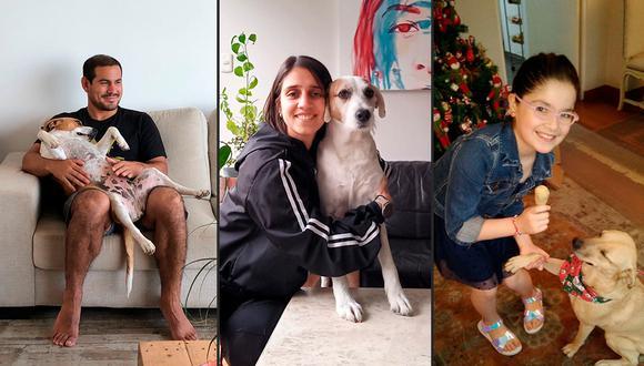 De izquierda a derecha: Paolo Urquieta, Natalia Rueda y una de las sobrinas de Sandra Ciccia junto a 'Melga'.