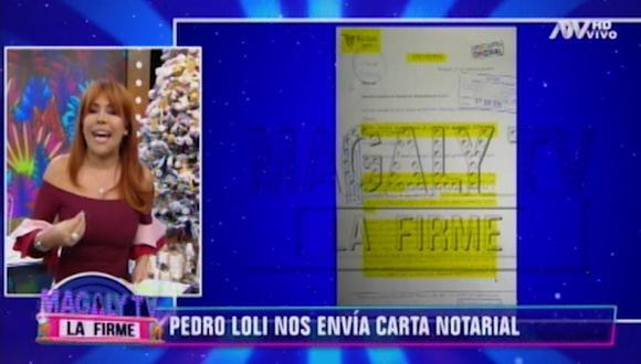Magaly Medina recibió carta notarial de Pedro Loli. (Imagen: ATV)