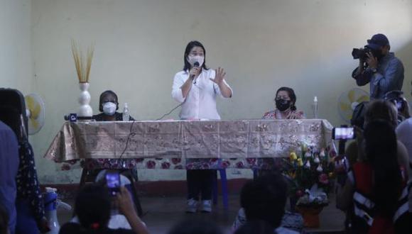 Keiko Fujimori declaró a los periodistas desde Comas, donde realizó una actividad proselitista. (Foto: Hugo Pérez / @photo.gec)