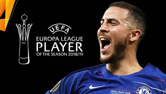 Eden Hazard fue elegido el mejor futbolista de la Europa League. (Foto: @EuropaLeague)