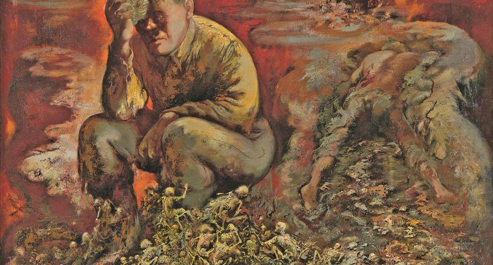 """""""Caín o Hitler en el Infierno"""" (1944), óleo sobre lienzo de George Grosz."""