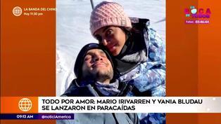 Mario Irivarren y Vania Bludau se lanzaron en paracaídas