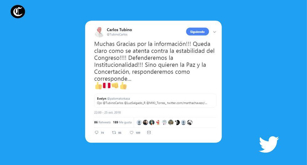 Los polémicos tuits del nuevo vocero titular de Fuerza Popular. (Fuente: @TubinoCarlos/ Elaboración: El Comercio)