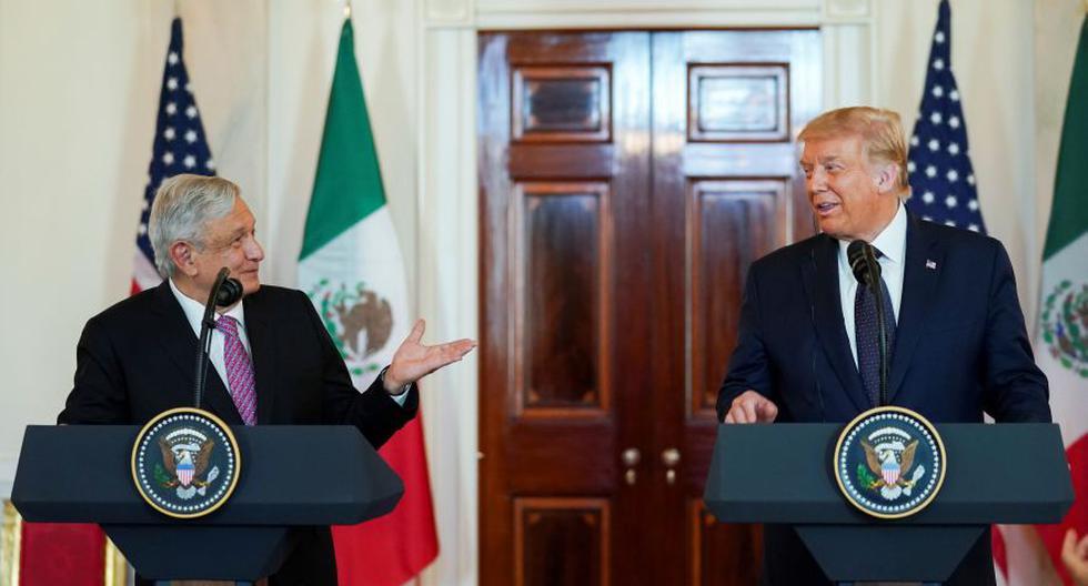 El presidente de México, Andrés Manuel López Obrador, y el presidente de los Estados Unidos, Donald Trump, en el Cross Hall de la Casa Blanca antes de celebrar una cena de trabajo juntos en la Casa Blanca en Washington. (Foto: REUTERS / Kevin Lamarque).