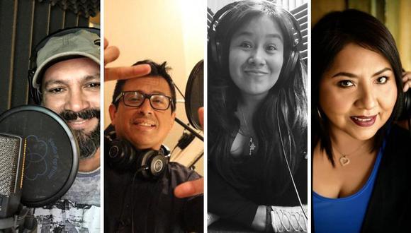 Son cuatro locutores peruanos que buscan dejar el nombre del Perú en lo alto en los Premios Sovas. (Foto: Instagram /@yaha_lima /lizetvoicetalent).