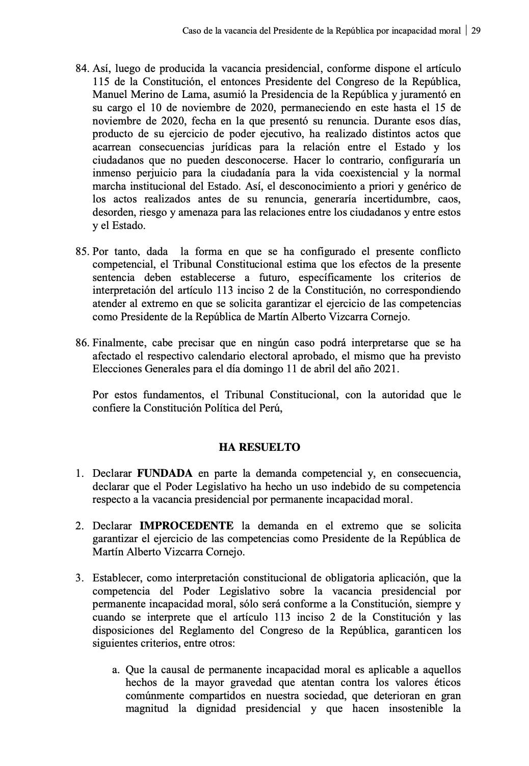 Borrador de la ponencia propuesta por la magistrada Marianella Ledesma en la demanda competencial por la vacancia presidencial por incapacidad moral.