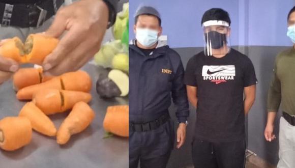 Las zanahorias fueron partidas a la mitad y encontraron supuesta marihuana camuflada (Foto: INPE)