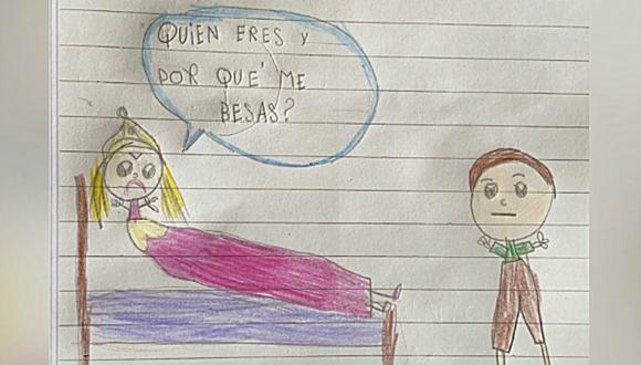 """""""¿Quién eres y por qué me besas?"""", escribió la menor. Su dibujo fue publicado en redes sociales y se convirtió en viral. (Foto: Twitter/@xfloripondiox)"""