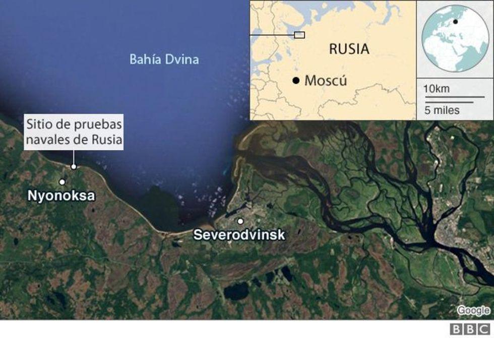 Se reveló el registro de niveles superiores de radiación a 47 kilométros de Severodvinsk.