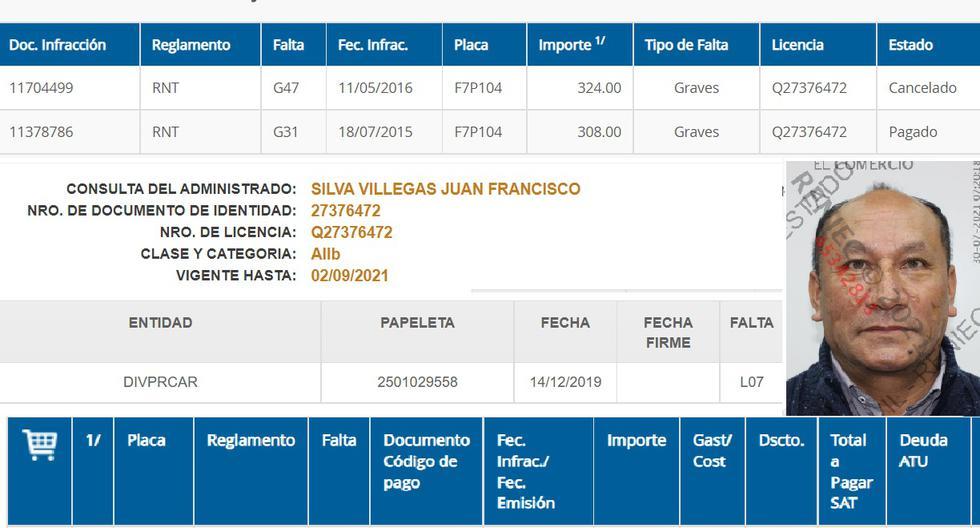 El actual ministro Silva registra tres papeletas en total, dos de ellas graves, cometidas en un microbús cuando el manejaba. Esa miniván arrastra una multa desde el 2014 por hacer transporte pirata de 4300 soles. El ministro figura como gerente de una empresa de transporte en Lima que no está registrada en la ATU.