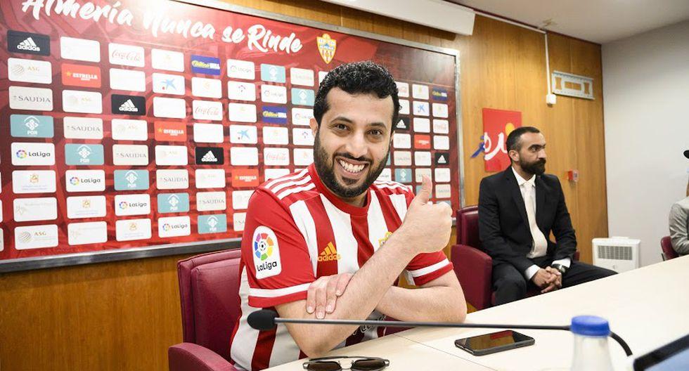 Turki Al-Sheikh, en una conferencia de prensa con UD Almería. Foto: UD Almería
