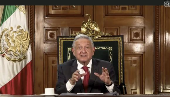 En esta imagen tomada del video de UNTV, Andrés Manuel López Obrador, presidente de México, habla en un mensaje pregrabado que fue reproducido durante la 75a sesión de la Asamblea General de las Naciones Unidas. (AP/UNTV).