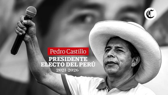 El Jurado Nacional de Elecciones oficializó a Pedro Castillo como nuevo presidente de la República en el periodo 2021-2026. (Foto: Diseño El Comercio)