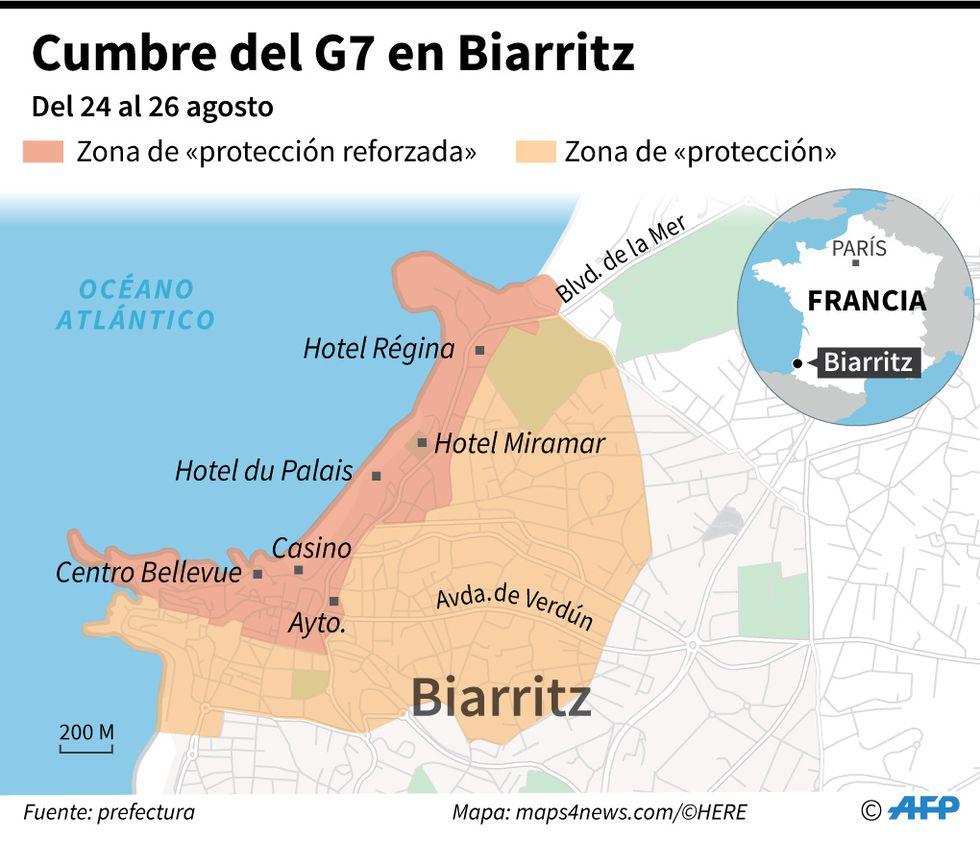 Mapa localizando las áreas que estarán protegidas durante la cumbre del G7 que se celebra en Biarritz. (AFP)