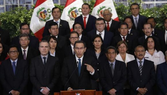 El día que el presidente Martín Vizcarra anunció que haría cuestión de confianza por la reforma política. (Foto archivo El Comercio)