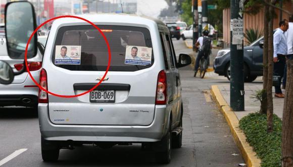 Guillermo Aliaga (Somos Perú) se promocionó con afiches pegados en colectivos. Luego anunció un proyecto de ley para formalizarlos.