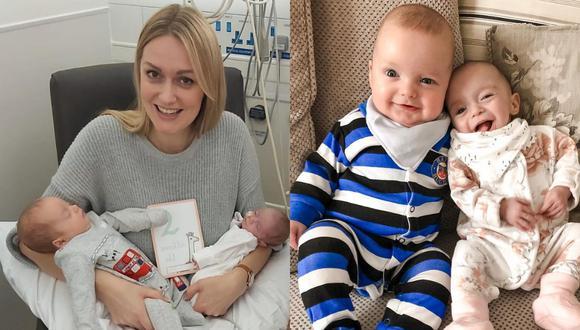 Rebecca Roberts es una mujer del Reino Unido que concibió a sus gemelos con tres semanas de diferencia, un fenómeno conocido como superfetación. | Crédito: @roberts.supertwins / Instagram