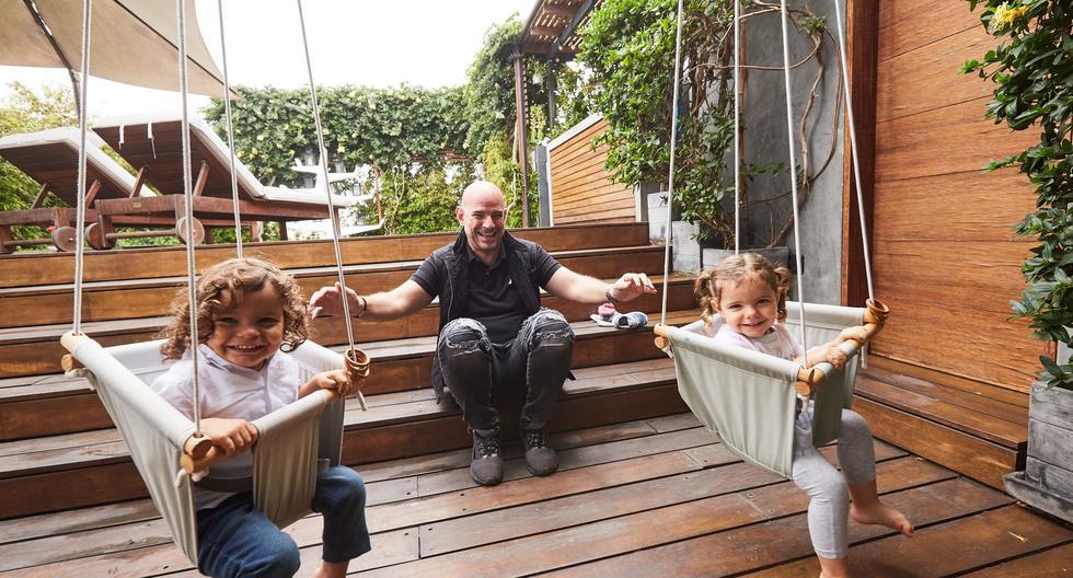 Morán y sus mellizos Emiliano y Catalina. Ambos tienen poco más de dos años. Foto: Víctor Idrogo - Icónica)