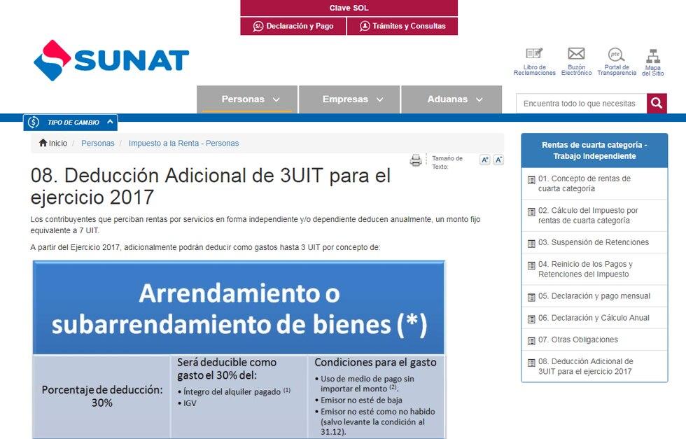 En la página web de la Sunat se puede observar a detalle cuáles son los requisitos para validar los distintos gastos. (Foto: Captura de pantalla Sunat)