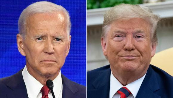 Donald Trump (izquierda) le saca una leve aventaja a Joe Biden (47 %/46 %) entre los hispanos de Miami-Dade, el condado con más votantes de toda Florida. (Fotos: Robyn BECK y SAUL LOEB / AFP).