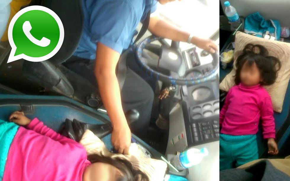 Vía WhatsApp: chofer maneja con niña durmiendo encima del motor - 1
