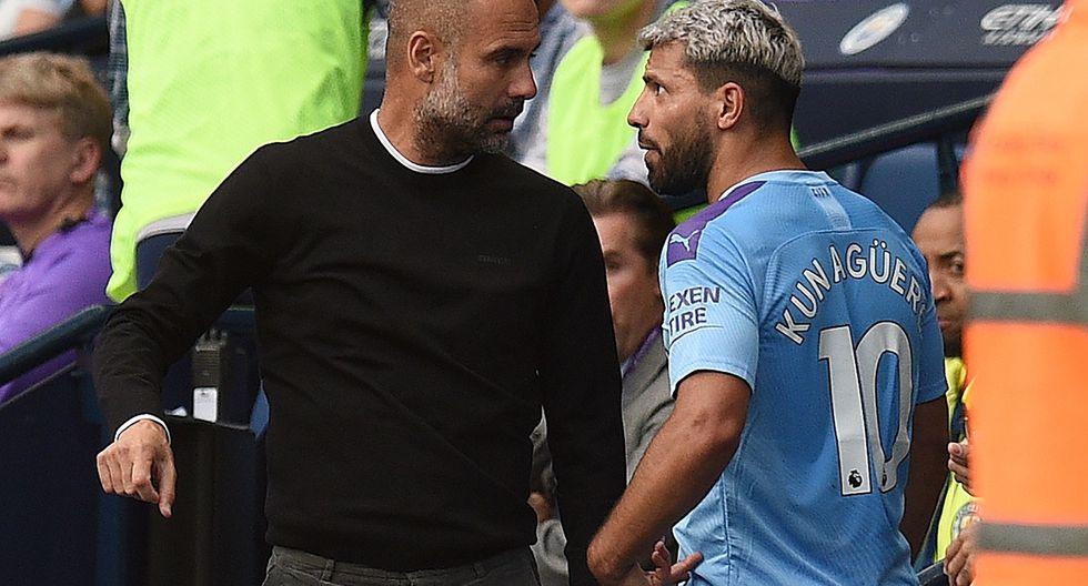 Pep Guardiola y el 'Kun' Agüero tuvieron un enfrentamiento en pleno partido entre Manchester City y Tottenham. (Foto: AFP)