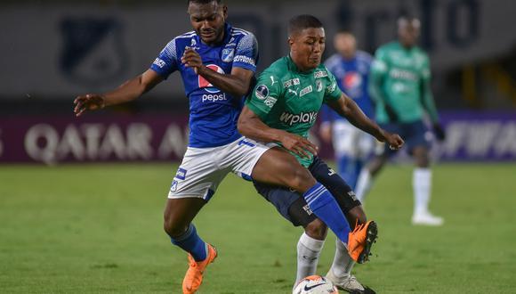 Con goles de Colorado y Messone, los caleños se impusieron en el partido de ida de la segunda fase de la Copa Sudamericana, que se jugó en el Estadio Nemesio Camacho El Campín. (Foto: AFP)