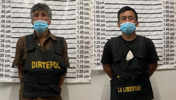 Los detenidos fueron identificados como Aquilino Diógenes Moreno Otiniano (59) y Raúl Rodríguez Cueva (30). (Foto PNP)