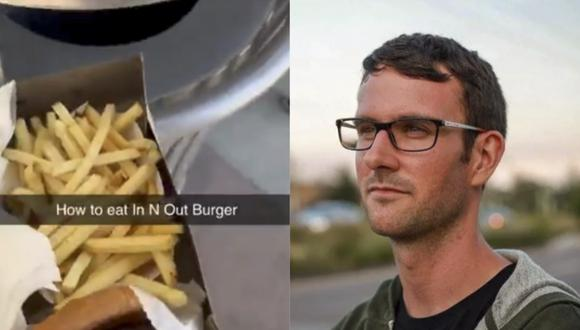 Tiró una hamburguesa a la basura como parte de una broma y desata la ira en redes sociales. (Facebook)