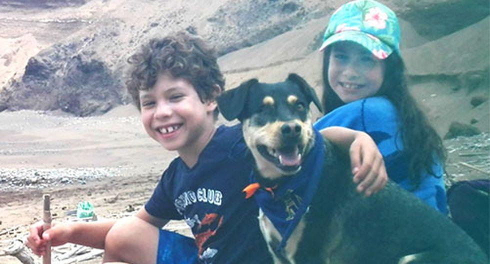 Kirra junto a Michela y Branco, los hijos de Mariella. (Foto: Cortesía)