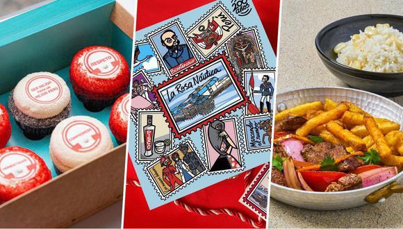De izquierda a derecha: la propuesta patriota de Miss Cupcakes; la caja de dulces de antaño de La Rosa Naútica; y el lomo saltado de Micha en Casa (Mitsuharu Tsumura).