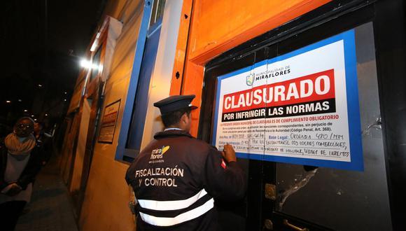 La Municipalidad de Miraflores ha cerrado diversos lugares por no acatar las normas para prevenir contagios de coronavirus. (Foto: Andina)